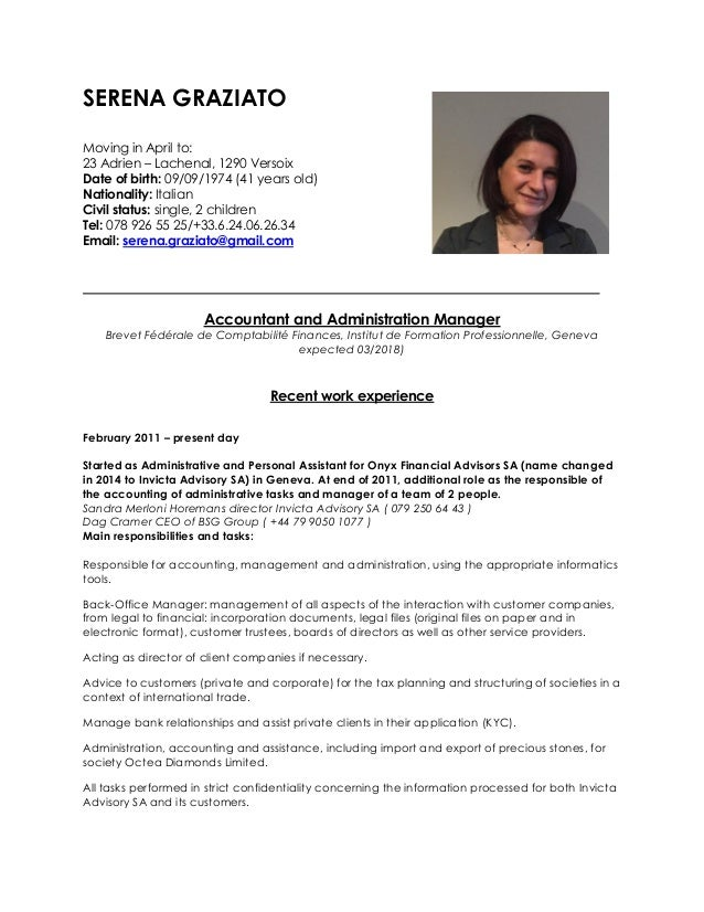 SERENA GRAZIATO Moving in April to: 23 Adrien – Lachenal, 1290 Versoix Date of birth: 09/09/1974 (41 years old) Nationalit...