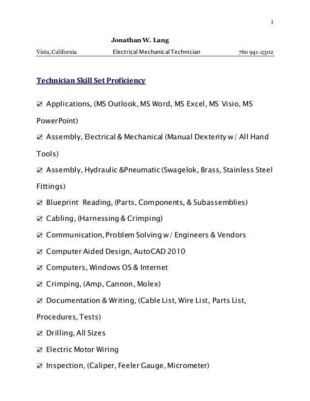 it skill set list
