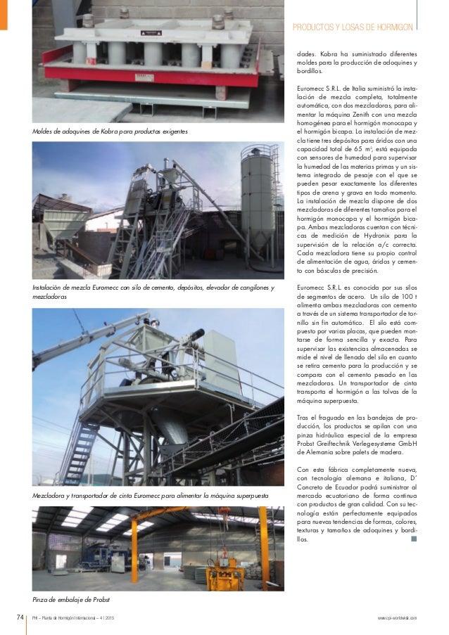 PHI – Planta de Hormigón Internacional – 4 | 2015 www.cpi-worldwide.com74 PRODUCTOS Y LOSAS DE HORMIGON Instalación de mez...