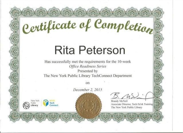 Certificate of Completion - 10-week Office Readiness Series - NY Publ…