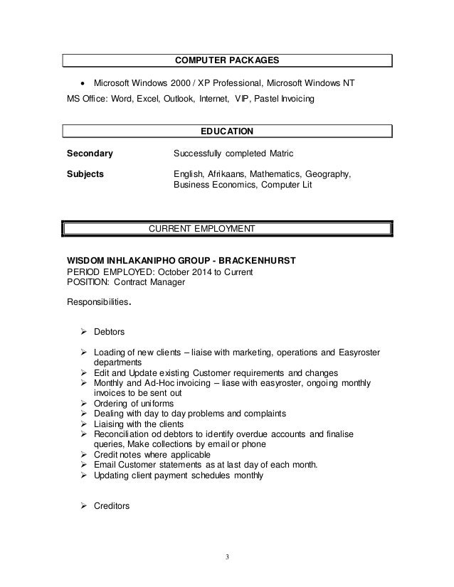 Resume Dealing With Problem Solving Skills