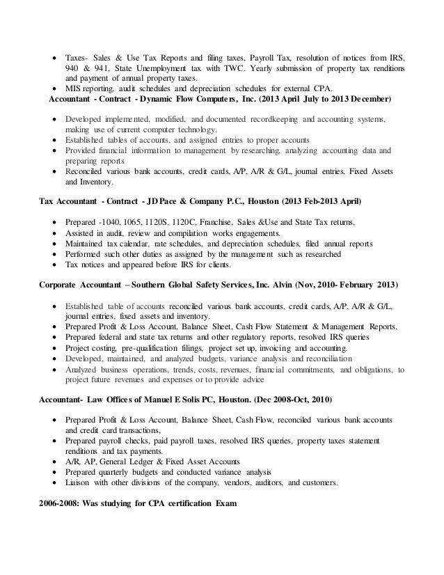 Resume for Accountant - CPA