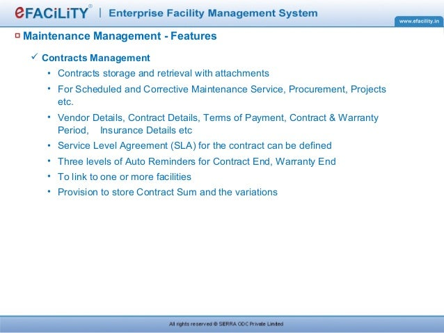 Efacility presentation maintenance management features service level agreements platinumwayz