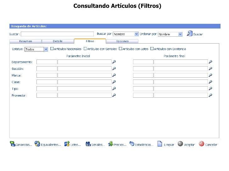 Consultando Artículos (Filtros)
