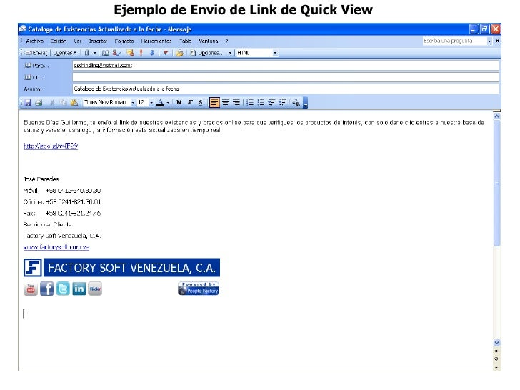 Ejemplo de Envio de Link de Quick View