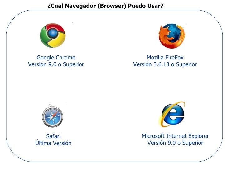 ¿Cual Navegador (Browser) Puedo Usar?   Google Chrome                       Mozilla FireFoxVersión 9.0 o Superior         ...