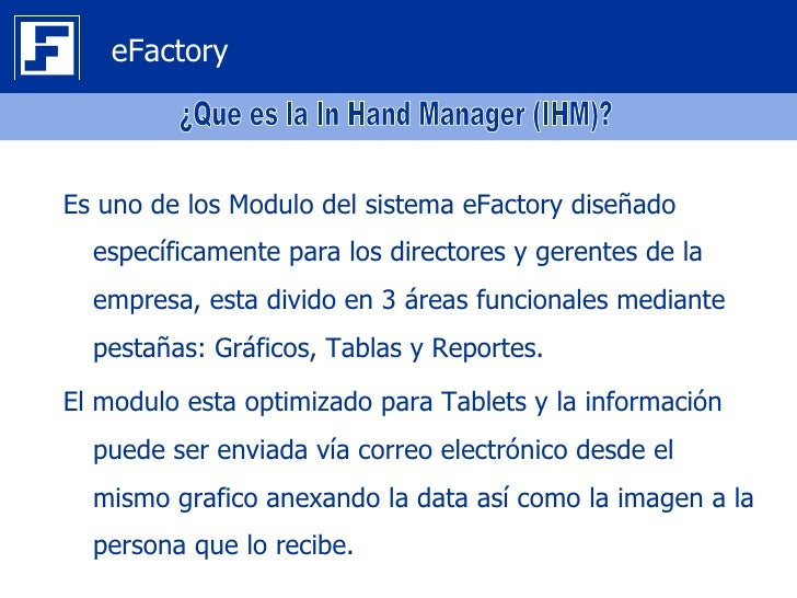 eFactory In Hand Manager (IHM) Slide 3