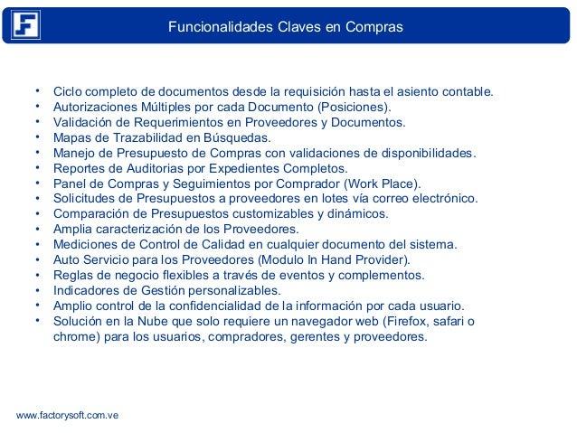 Trazabilidad en eFactory Modulo de Compras Version 4.3.12 Slide 3