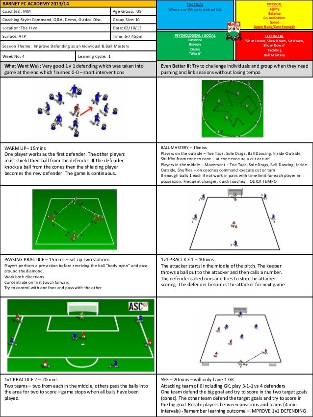 bfc u9 - week 4 session plans