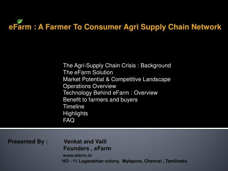 eFarm : A Farmer To Consumer Agri Supply Chain Network                      The Agri-Supply Chain Crisis : Background     ...