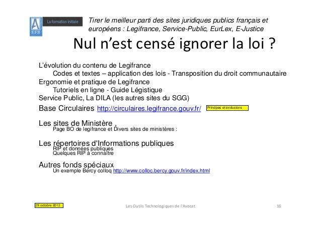 Tirer le meilleur parti des sites juridiques publics français et                        européens : Legifrance, Service-Pu...
