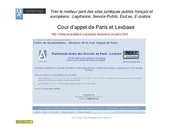 Tirer le meilleur parti des sites juridiques publics français et                  européens : Legifrance, Service-Public, ...