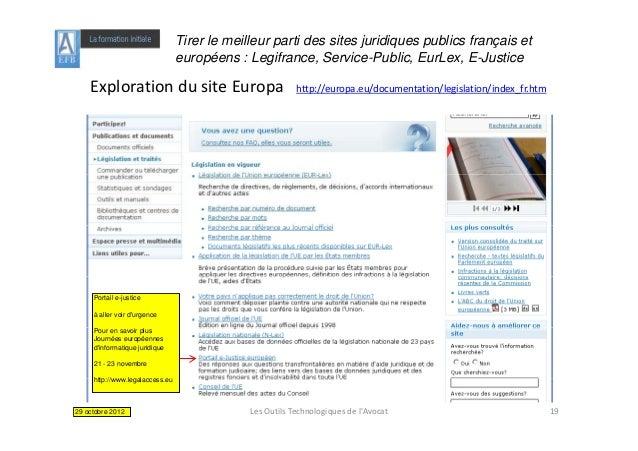 Tirer le meilleur parti des sites juridiques publics français et                                 européens : Legifrance, S...