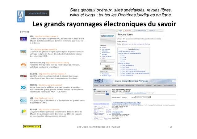 Sites globaux onéreux, sites spécialisés, revues libres,                   wikis et blogs : toutes les Doctrines juridique...