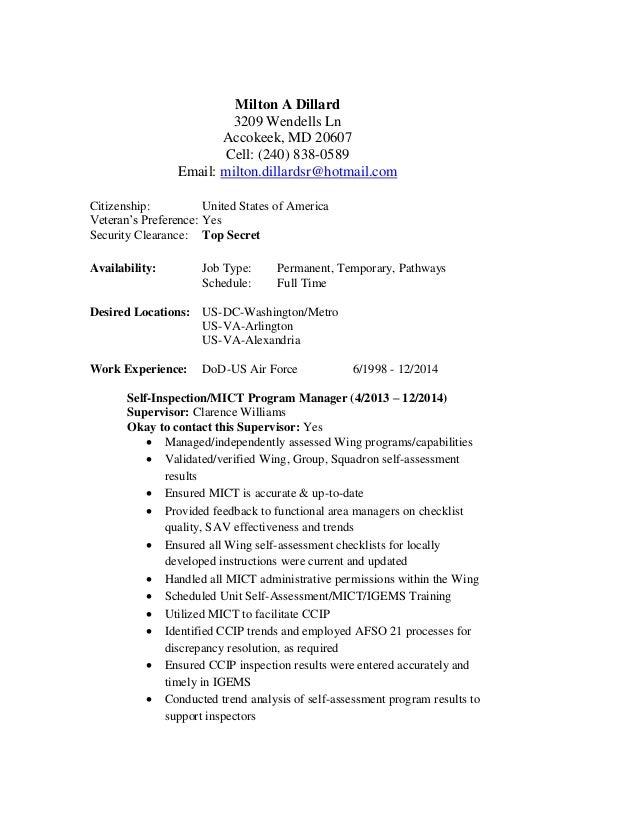 Milton Dillards federal gov resume