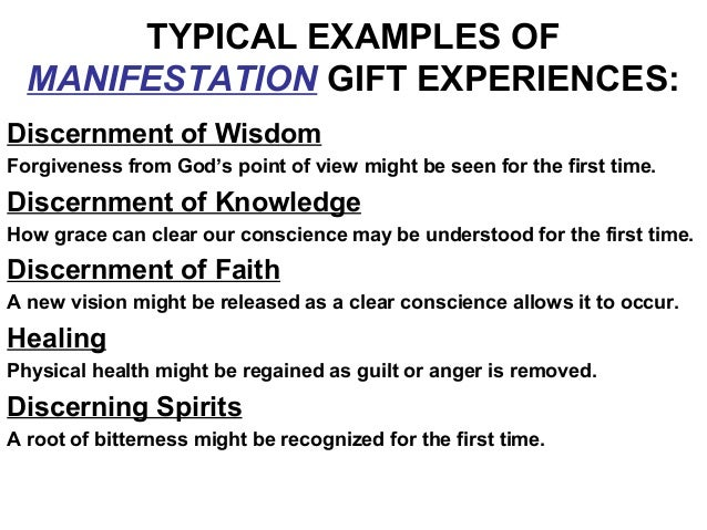 Efc natural talents spiritual gifts 24 typical examples of manifestation gift experiences discernment negle Image collections