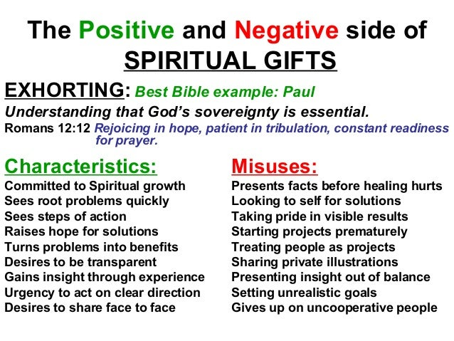 Efc natural talents spiritual gifts 31 the positive and negative side of spiritual gifts exhorting best bible negle Choice Image