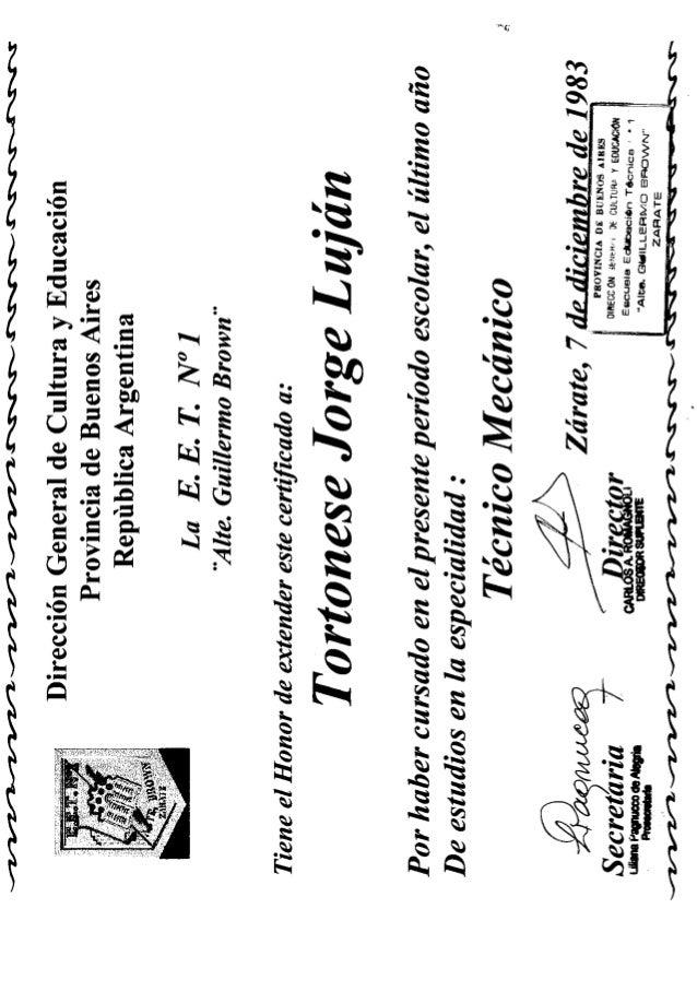 Tortonese's University Certificate