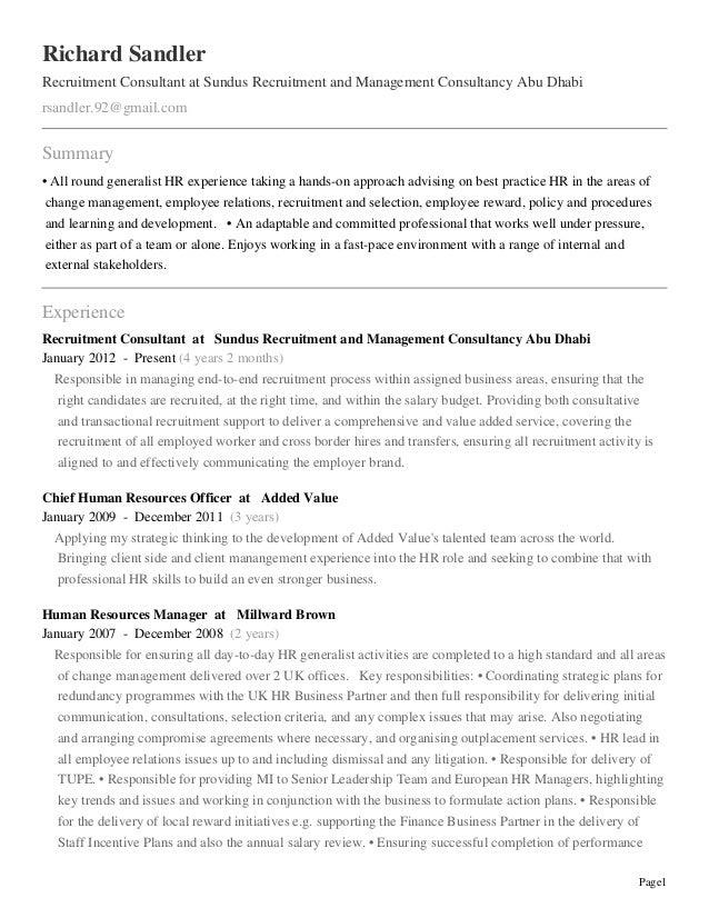 Page1 Richard Sandler Recruitment Consultant at Sundus Recruitment and Management Consultancy Abu Dhabi rsandler.92@gmail....