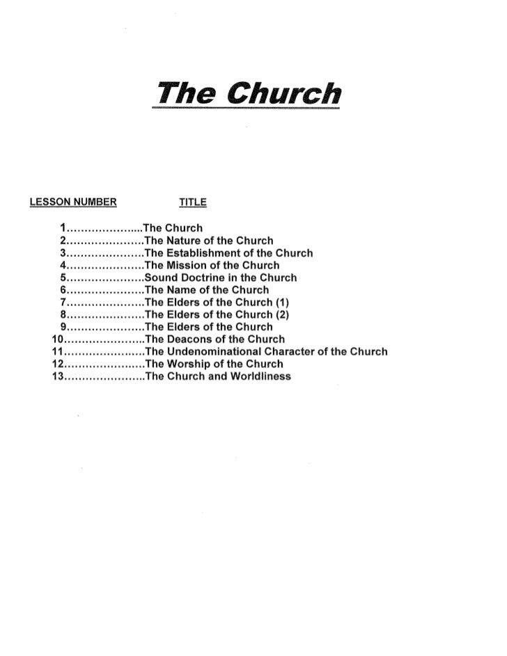 EFCC Wed Nite Bible Class Lesson_The Church_2012