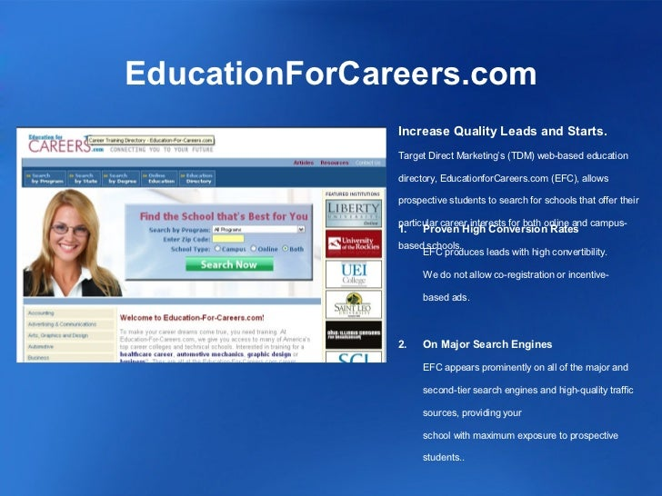 EducationForCareers.com               Increase Quality Leads and Starts.               Target Direct Marketing's (TDM) web...