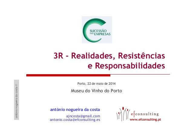 3R - Realidades, Resistências e Responsabilidades Porto, 22 de maio de 2014 Museu do Vinho do Porto antónio nogueira da co...
