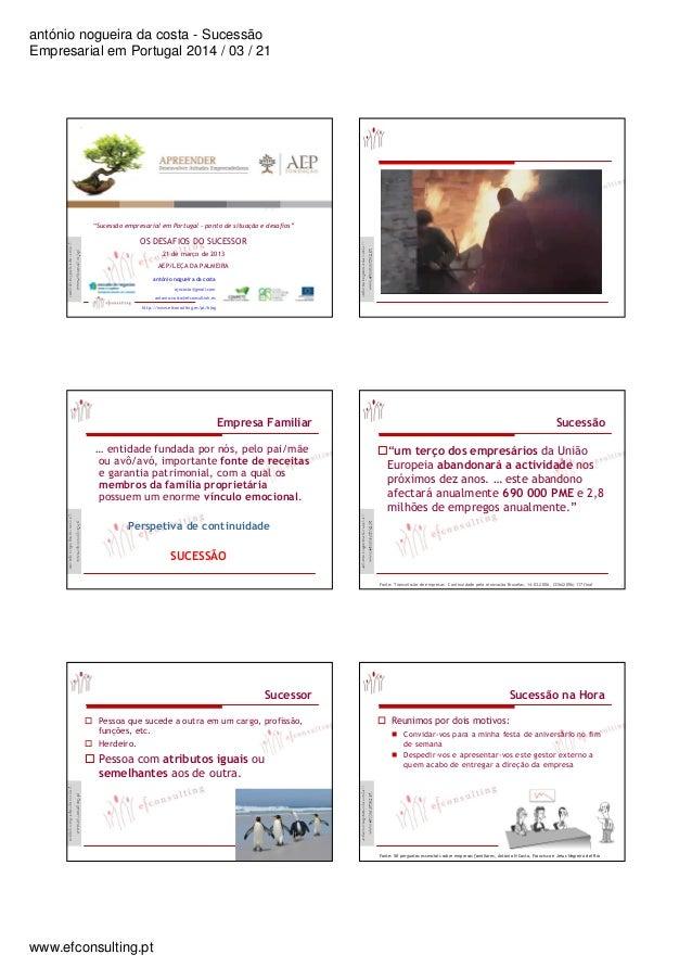 """antónio nogueira da costa - Sucessão Empresarial em Portugal 2014 / 03 / 21 www.efconsulting.pt ! """" # $%& ! $ & ! """" ' (%!$..."""