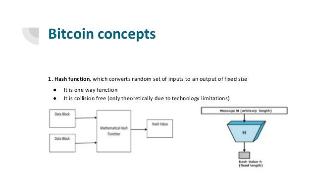Bitcoin concepts 1. Hash function, which converts random set of inputs to an output of fixed size ● It is one way function...