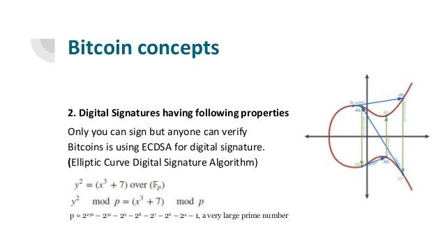 Bitcoin concepts 2. Digital Signatures having following properties Only you can sign but anyone can verify Bitcoins is usi...