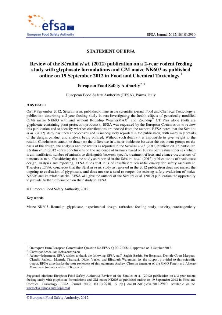 EFSA Journal 2012;10(10):2910                                            STATEMENT OF EFSA    Review of the Séralini et al...