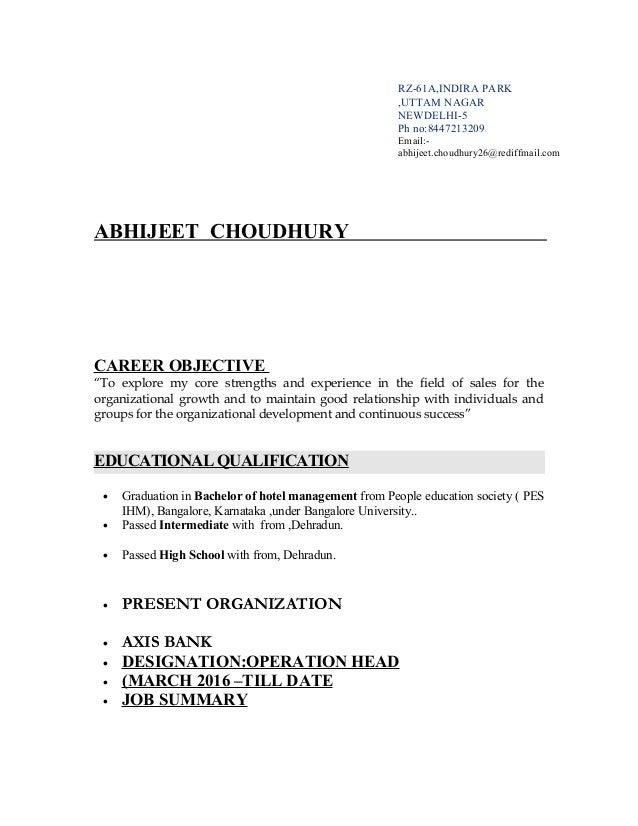Axis bank post resume