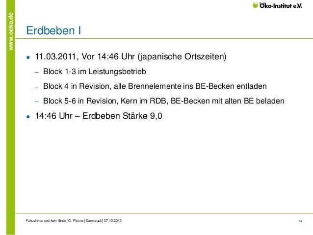 www.oeko.de  Erdbeben I ●  11.03.2011, Vor 14:46 Uhr (japanische Ortszeiten) ‒ ‒  Block 4 in Revision, alle Brennelemente ...