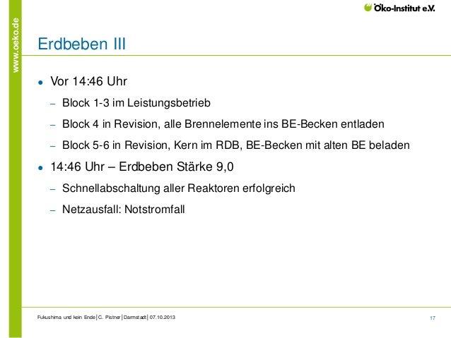 www.oeko.de  Erdbeben III ●  Vor 14:46 Uhr ‒ ‒  Block 4 in Revision, alle Brennelemente ins BE-Becken entladen  ‒  ●  Bloc...