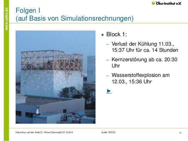 www.oeko.de  Folgen I (auf Basis von Simulationsrechnungen) ●  Block 1: ‒  Verlust der Kühlung 11.03., 15:37 Uhr für ca. 1...