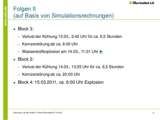 www.oeko.de  Folgen II (auf Basis von Simulationsrechnungen) ●  Block 3: ‒ ‒  Kernzerstörung ab ca. 9:00 Uhr  ‒  ●  Verlus...