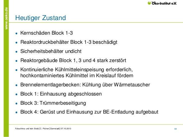 www.oeko.de  Heutiger Zustand ●  Kernschäden Block 1-3  ●  Reaktordruckbehälter Block 1-3 beschädigt  ●  Sicherheitsbehält...
