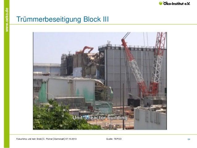 www.oeko.de  Trümmerbeseitigung Block III  Fukushima und kein Ende│C. Pistner│Darmstadt│07.10.2013  Quelle: TEPCO  64