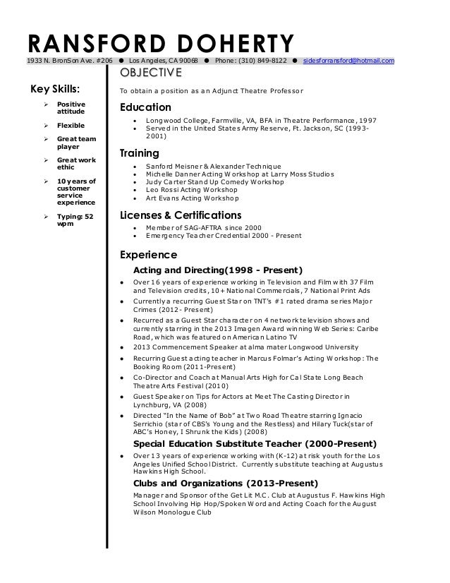 Ransford Doherty Current Adjunct Theatre Professor Resume 1
