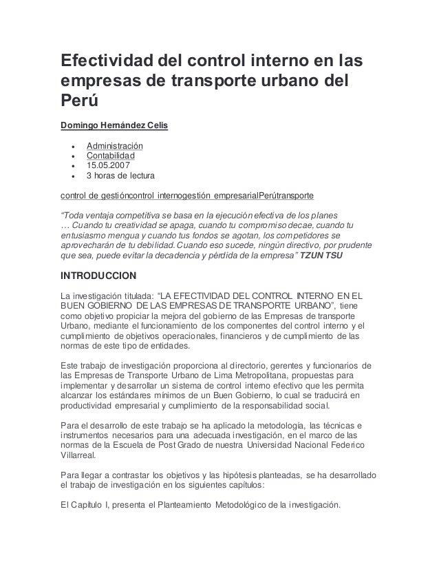 Efectividad del control interno en las empresas de transporte urbano …