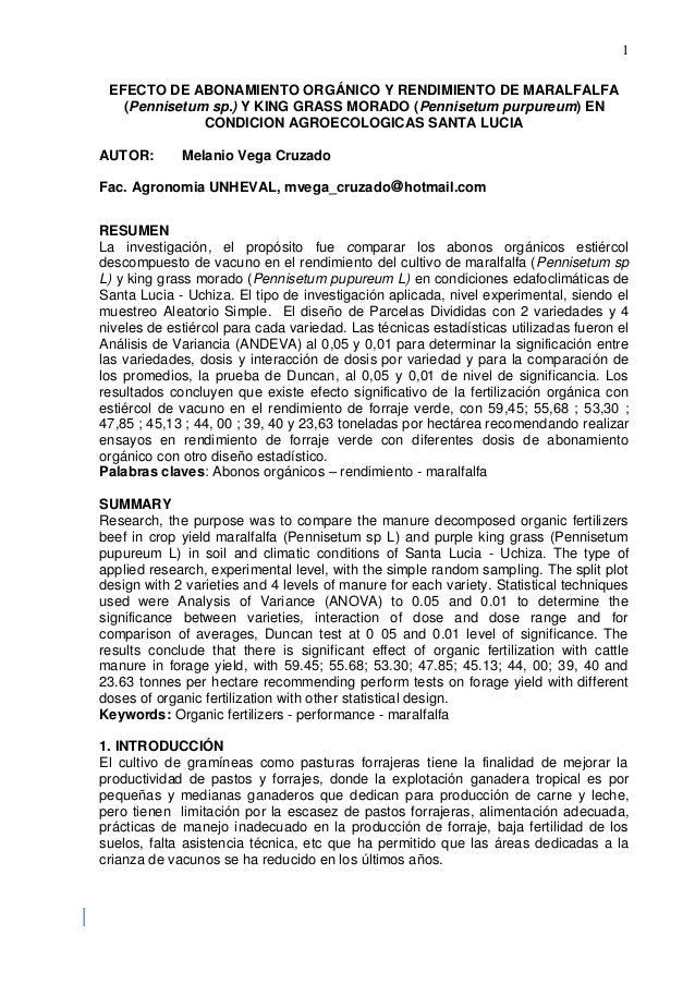 1 EFECTO DE ABONAMIENTO ORGÁNICO Y RENDIMIENTO DE MARALFALFA (Pennisetum sp.) Y KING GRASS MORADO (Pennisetum purpureum) E...