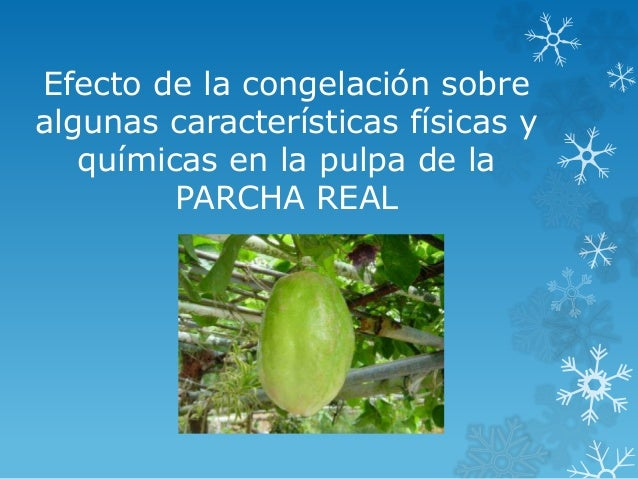Efecto de la congelación sobre algunas características físicas y químicas en la pulpa de la PARCHA REAL