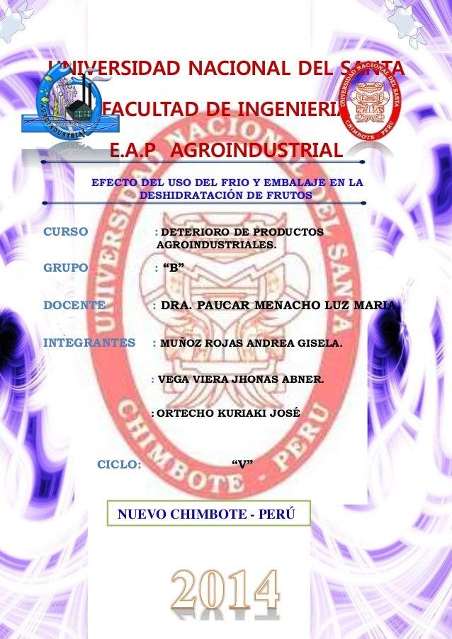 UNIVERSIDAD NACIONAL DEL SANTA FACULTAD DE INGENIERIA E.A.P AGROINDUSTRIAL EFECTO DEL USO DEL FRIO Y EMBALAJE EN LA DESHID...