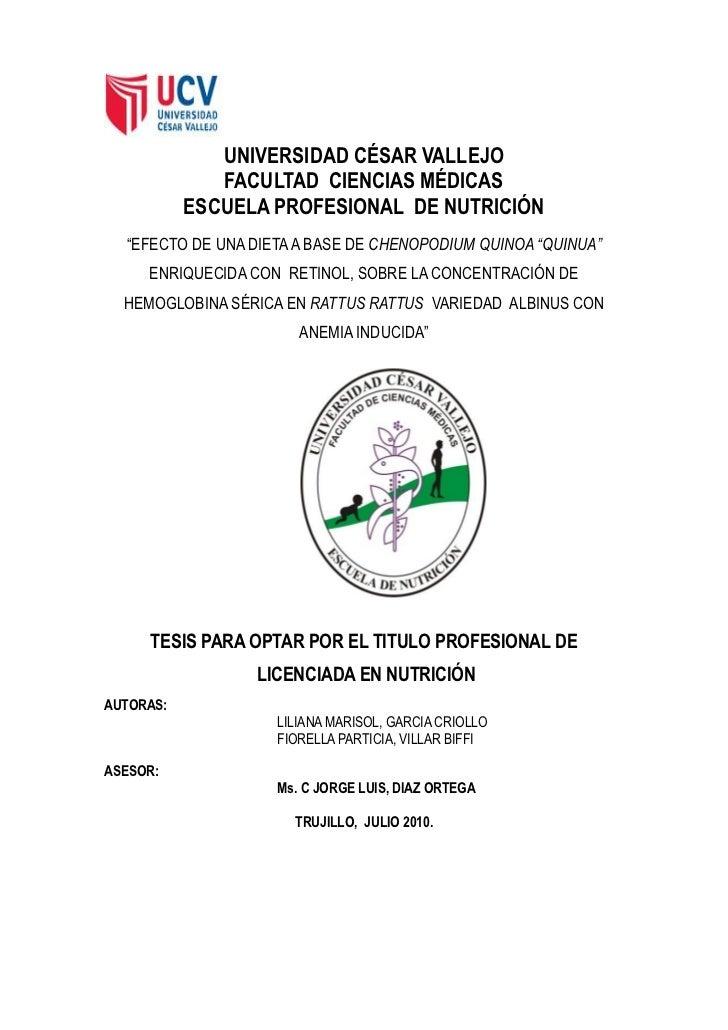 """UNIVERSIDAD CÉSAR VALLEJO              FACULTAD CIENCIAS MÉDICAS           ESCUELA PROFESIONAL DE NUTRICIÓN  """"EFECTO DE UN..."""