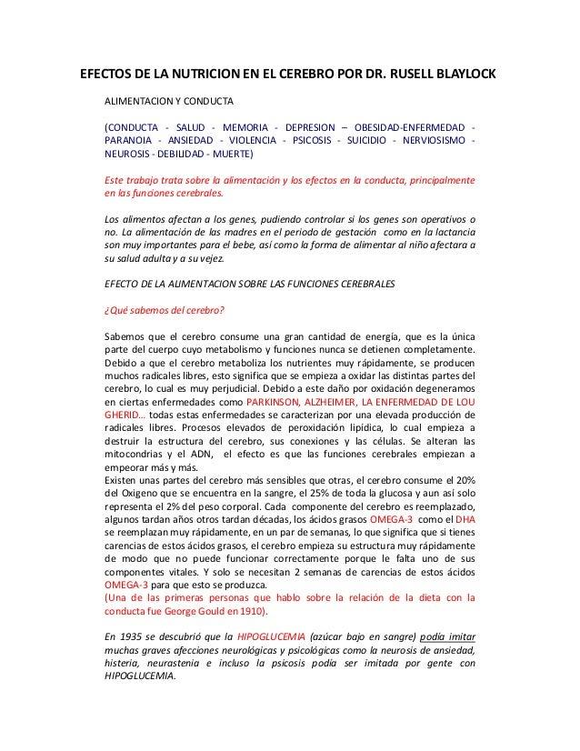 EFECTOSDELANUTRICIONENELCEREBROPORDR.RUSELLBLAYLOCK  ALIMENTACIONYCONDUCTA  (CONDUCTA ‐ SALUD ‐ MEMORI...