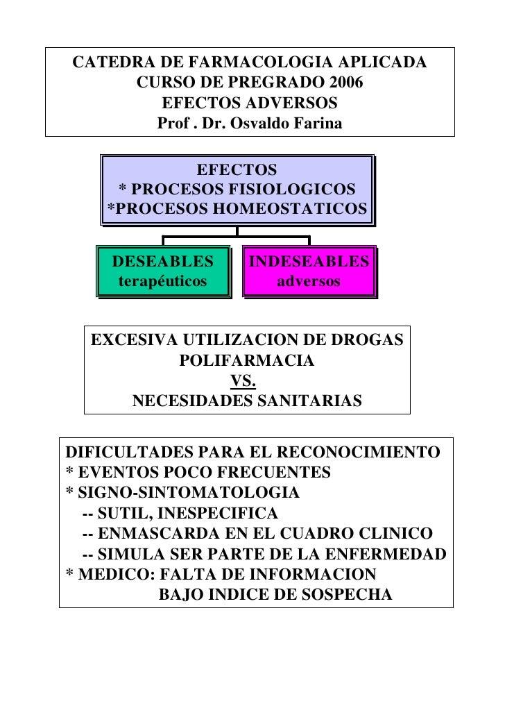 CATEDRA DE FARMACOLOGIA APLICADA      CURSO DE PREGRADO 2006         EFECTOS ADVERSOS        Prof . Dr. Osvaldo Farina    ...