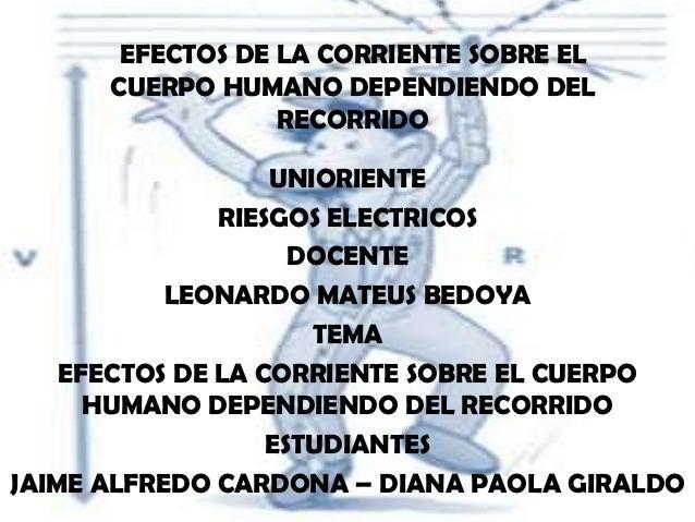 EFECTOS DE LA CORRIENTE SOBRE EL      CUERPO HUMANO DEPENDIENDO DEL                  RECORRIDO                   UNIORIENT...