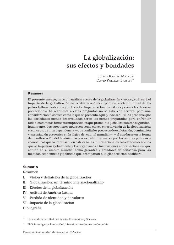 LA GLOBALIZACIÓN: SUS EFECTOS Y BONDADES             65                                               La globalización:   ...