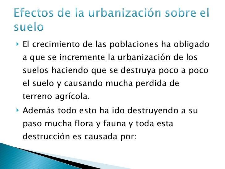 efectos de la urbanizaci n sobre el suelo