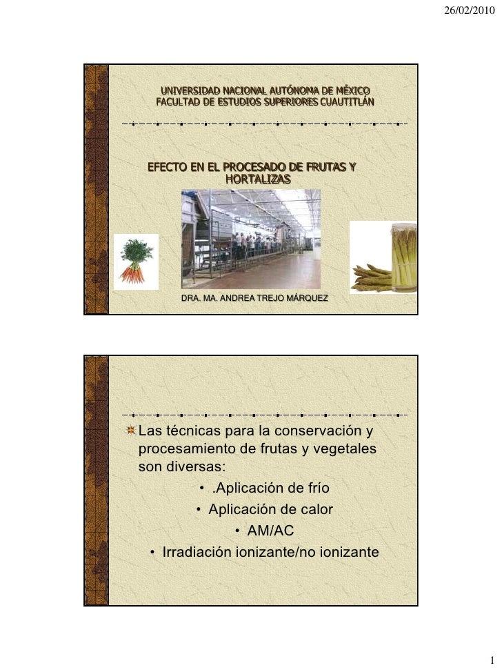 26/02/2010        UNIVERSIDAD NACIONAL AUTÓNOMA DE MÉXICO   FACULTAD DE ESTUDIOS SUPERIORES CUAUTITLÁN      EFECTO EN EL P...
