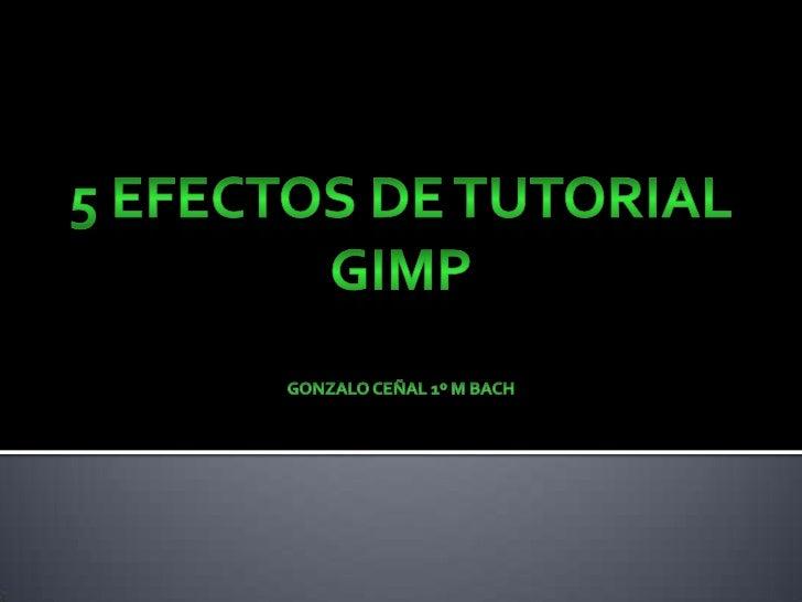 5 efectos de tutorial GimpGonzalo ceñal 1º M Bach<br />